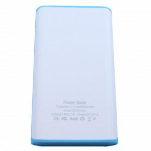 Acumulator extern 35800 mAh, 2 porturi USB, alb cu albastru