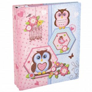 Album foto pentru copii, model Bufnita fericita, roz, 14 x 17 cm, Pufo