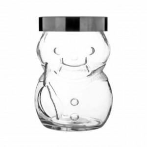 Borcan cu capac metalic Pufo Snowman pentru depozitare dulciuri, condimente, cereale, etc, 1350 ml