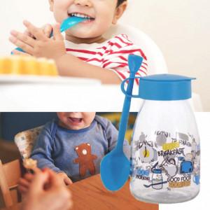 Borcan cu lingurita si capac Pufo Blue pentru depozitare, servirea mesei la copii, etc, 500 ml