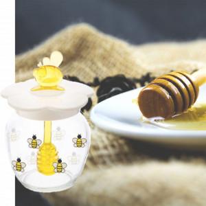 Borcan din sticla cu capac si lingura pentru colectare miere, 370 ml