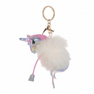 Breloc pufos pentru chei sau decor geanta, in forma de unicorn, 10 cm, Pufo