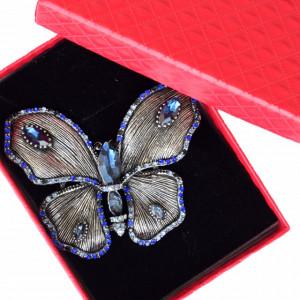 Brosa dama eleganta in forma de fluture mare cu pietricele bleumarin, Royal blue butterfly