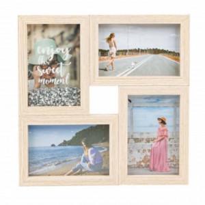 Cadru rama foto decorativa Pufo Moment din lemn, 4 locuri, 29 x 29 cm