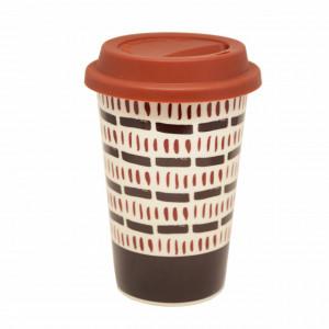 Cana ceramica de voiaj Pufo Tribe pentru cafea cu capac din silicon, 415 ml