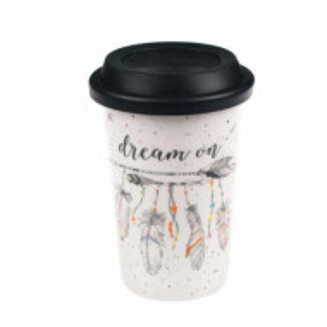 Cana ceramica Pufo Dream pentru cafea sau ceai cu capac din silicon, 415 ml