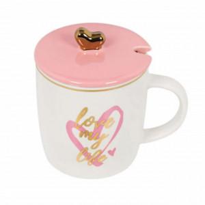Cana din portelan Pufo Love my life pentru cafea sau ceai cu lingurita, 325 ml