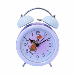 Ceas de masa desteptator pentru copii Pufo Joy, cu buton de iluminare cadran, 16 cm, model Happy Mouse