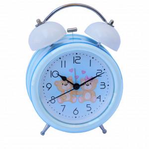 Ceas de masa desteptator pentru copii Pufo Joy, cu buton de iluminare cadran, 16 cm, model Lovers
