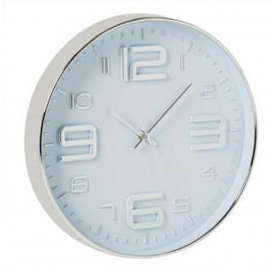 Ceas decorativ de perete Pufo Simple cu numere, 30 cm, argintiu