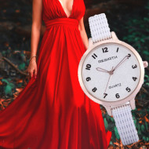 Ceas elegant de dama REBIRTH + cutie inclusa, curea alba