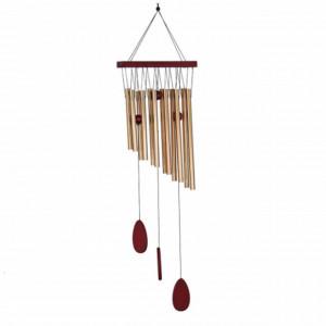 Clopotel de vant cu 12 tuburi sonore metalice aurii pentru casa sau gradina, model Feng-Shui
