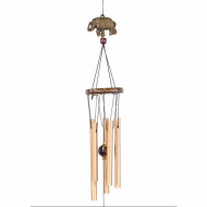 Clopotel de vant cu 5 tuburi sonore metalice pentru casa sau gradina, model Feng-Shui cu elefanti