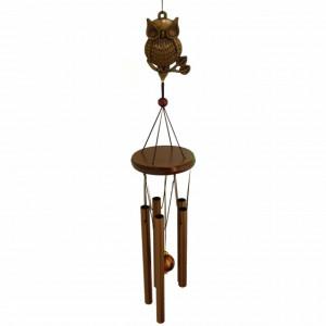 Clopotel de vant cu 5 tuburi sonore metalice pentru casa sau gradina, model Feng-Shui cu bufnite