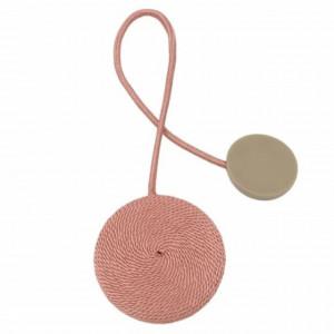Cordon de strangere pentru draperie sau perdea cu magnet, model Pufo, roz