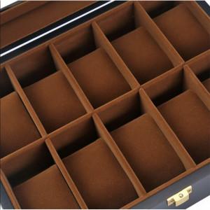 Cutie caseta din lemn pentru depozitare si organizare 10 ceasuri, model Pufo Imperial, negru mat