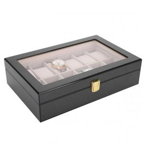 Cutie caseta din lemn pentru depozitare si organizare 12 ceasuri, model Pufo Luxury