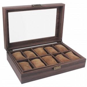 Cutie eleganta pentru depozitare si organizare ceasuri si bijuterii cu 10 compartimente, model Pufo Elite, maro inchis