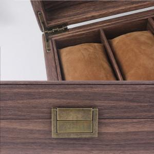 Cutie eleganta pentru depozitare si organizare ceasuri si bijuterii cu 12 compartimente, model Pufo Elite, maro inchis