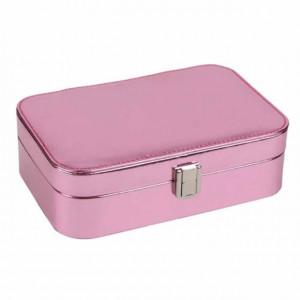 Cutie organizare si depozitare bijuterii si cercei Pufo Pinky, interior catifea, roz metalizat