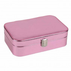 Cutie organizare si depozitare bijuterii si cercei Pufo Pinky, roz metalizat, interior catifea