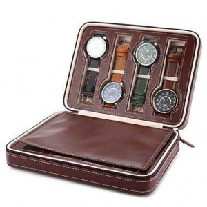 Geanta caseta depozitare si transport pentru 8 ceasuri, maro