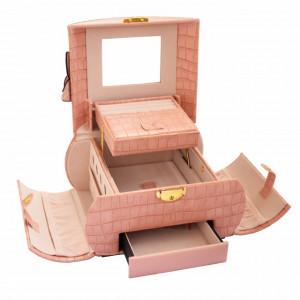 Geanta eleganta Pufo Glossy pentru depozitare si organizare accesorii si bijuterii, roz