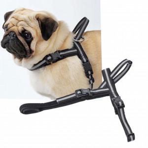 Ham reglabil Pufo pentru caini sau animale de companie, model negru/gri