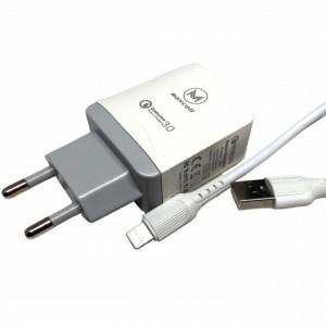 Incarcator priza Fast Charge 18 W si cablu de incarcare / transfer date USB de 1 m, pentru telefon IOS, alb
