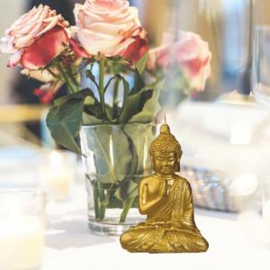 Lumanare decorativa Pufo Buddha Gold, 15 cm