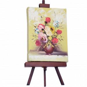 Mini tablou canvas Pufo Flowers cu suport, 25 cm