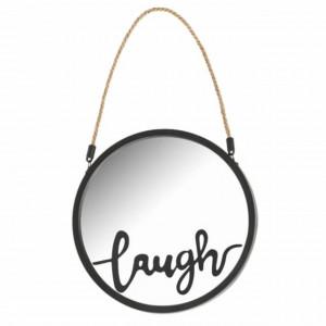 Oglinda decorativa rotunda de perete cu agatatoare Pufo Laugh, 25 cm