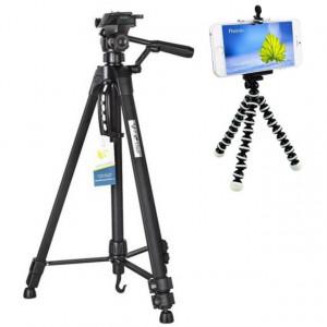 Pachet Trepied foto telescopic Weifeng WT-3560 universal 64-167 cm + Trepied flexibil cu suport pentru telefon mobil sau aparat foto, Pufo