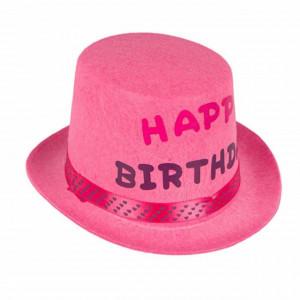 Palarie aniversara pentru fete Happy birthday, roz, Pufo