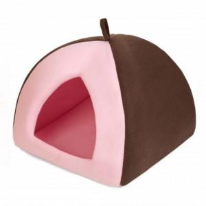 Pat casuta pentru caini sau pisici, roz/maro , 38 cm