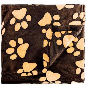 Paturica calduroasa si confortabila Pufo pentru animale de companie, model cu labute, maro,100 x 140cm