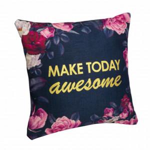 Perna decorativa Pufo, model Make today awesome, pentru canapea, pat, fotoliu, 40 x 40 cm