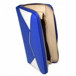 Portofel elegant de dama in doua culori, albastru cu alb