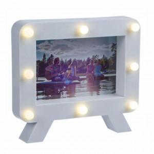 Rama foto decorativa Pufo Friends cu LED, 19 x 17 cm, alba