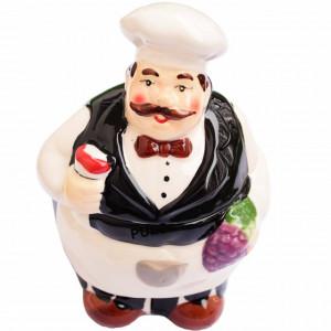Recipient ceramic pentru depozitare ingrediente cu lingurita, model Pufo Chef, 15 cm