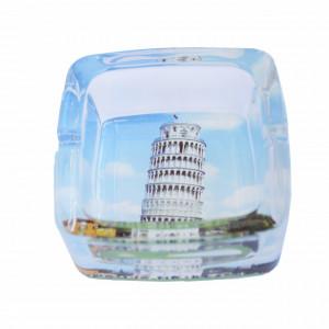 Scrumiera Pufo din sticla, model Turnul din Pisa, 9,5 cm