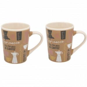 Set 2 cani ceramice pentru cafea, All you need is Coffee, 380 ml