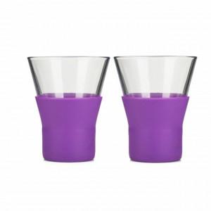 Set 2 pahare din sticla pentru cafea, ceai sau cappuccino cu baza din silicon, 220 ml, termorezistente
