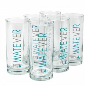 Set 6 pahare Pufo WatEVEr din sticla pentru bauturi, 270 ml