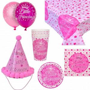 Set accesorii pentru petrecere si zi de nastere Little Princess, roz cu alb, Pufo