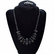 Set colier statement si cercei cu cristale negre, Black heart