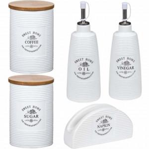 Set de bucatarie cu recipiente pentru cafea, zahar, ulei, otet si suport pentru servetele din ceramica, Pufo