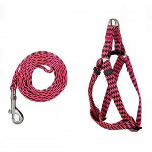 Set ham si lesa Pufo pentru caini, 120 cm, roz cu dungi
