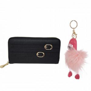 Set Portofel elegant de dama cu fermoar, negru + Breloc pufos pentru chei sau decor geanta, in forma de flamingo, 13 cm, Pufo