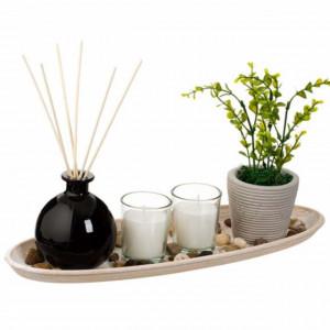 Set suport Pufo Harmony pentru lumanare si bete parfumate, 39 cm